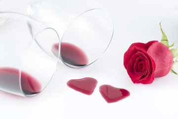 Heart shape from red wine and Rose flower, Happy Valentine's Day