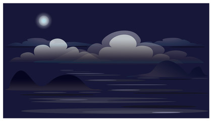 Landscape with clouds, Moon, ocean, islands.
