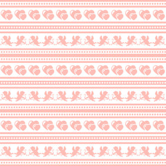 Valentine's day pattern with Cupid and hearts.