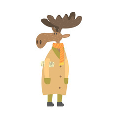 Moose In Long Coat With Newspaper Under Arm, Forest Animal Dressed In Human Clothes Smiling Cartoon Character