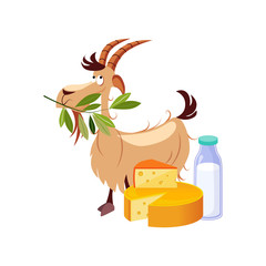 Goat Eating A Branch And Set Of Cheese And Milk Dairy Food, Farm And Farming Related Illustration In Bright Cartoon Style