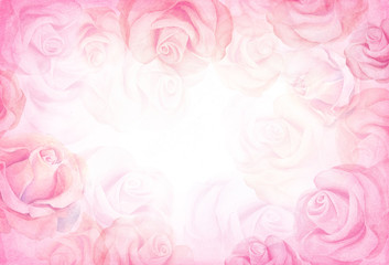 Abstract romantic rose horizontal background.