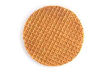 Dutch stroopwafel cookie on a white background
