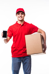 Delivery man or courier with box pointed phone on you