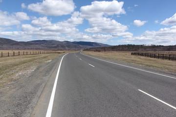 The highway among mountains in the spring, Buryatia, Siberia, Ru