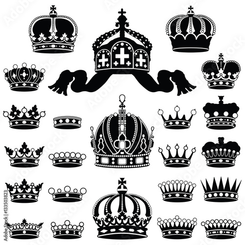 Crown Icon Collection Vector Silhouette