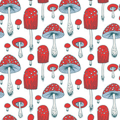 Seamless pattern with amanita forest mushrooms - vector outline hand drawn sketch. Collection of different mushrooms with roots, real eatable and poisoned boletus