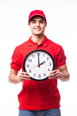 Delivery man with clock