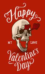 valentine's day skull in love calligraphy card.