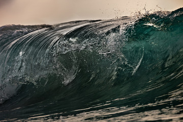 Ocean wave rolling. Closeup shot