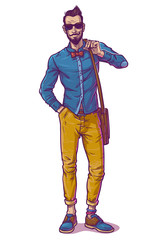 illustration of a fashionable guy