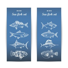 set of marine fish. vector illustration