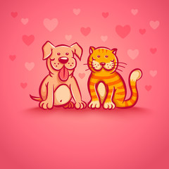 Pets on pink background
