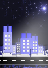 Buildings night stars