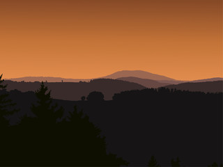Panorama landscape with dark silhouettes of hills, mountains, dramatic clear sky, sunrise - vector illustration