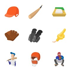 Sport with bat icons set, cartoon style