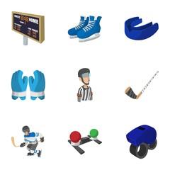 Ice fight icons set, cartoon style