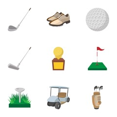 Active golf icons set, cartoon style