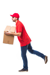 Runing delivery man with box