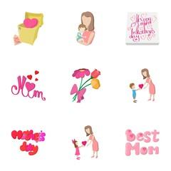 Celebration of mothers day icons set
