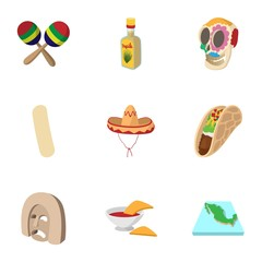 Holiday in Mexico icons set, cartoon style