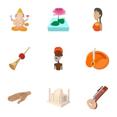 Stay in India icons set, cartoon style