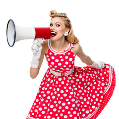woman holding megaphone, dressed in pin-up style dress