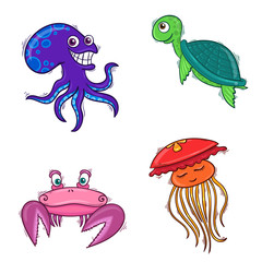 Octopus, jellyfish, turtle and crab
