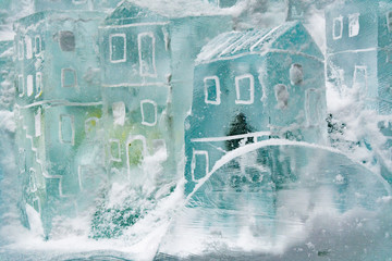 Ice sculpture, small house from ice. Ice masters competition at Hrebienok, Slovakia