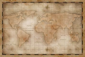 Spoed Foto op Canvas Wereldkaart aged or old world map stylization