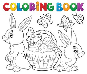 Door stickers For Kids Coloring book Easter basket and rabbits