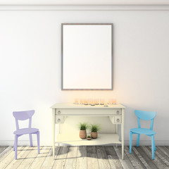 mock up poster frame on wall, modern style interior background, 3D render