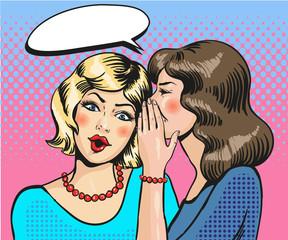 Women whisper pop art comic vector