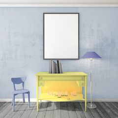 mock up poster frame on wall, modern style interior background, 3D render