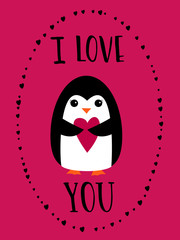 I love you card for Happy Valentines Day. Cute penguin holding heart on crimson background. Hand drawn words.