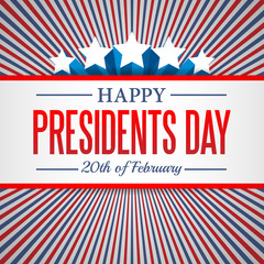 Presidents Day background. USA patriotic template with text, stripes and stars for posters, decoration in colors of american flag. Colorful vector illustration for National celebrations