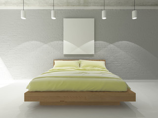mock up blank poster on the brick wall of bedroom, 3D viz, background