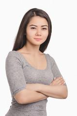Casual Asian girl portrait. Beautiful  woman looking ahead.