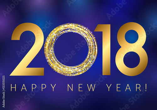 new year 2018 gold colored vector logo happy holidays colorful greeting card with shining stars