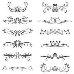 Vector set of calligraphic design elements in black lines swirl on white background