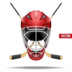 Ice hockey symbol with goalie helmet and sticks. Design elements. Illustration isolated on white background.