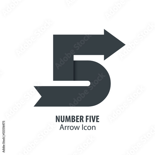 """Number Five and Arrow Icon Logo"" Stock image and royalty ..."