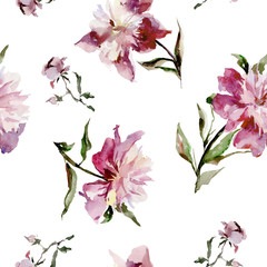 Seamless pattern with beautiful open pink peonies ans buds on white background. Watercolor painting. Hand drown. Can be used in greeting cards, wallpapers, fabric, wrapping paper