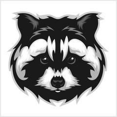 Raccoons head logo for sport club or team.