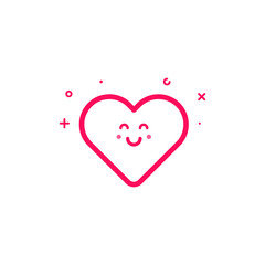 Vector illustration of pink icon in flat line style. Linear cute and happy heart. Graphic design concept of valentin day sign. Outline isolated object.