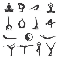 Yoga fitness icons.  Fifteen black  Icons of different yoga positions. Vector available.