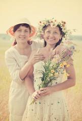 summer portrait of  happy women