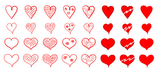 Set of red heart icons for Saint Valentine's Day. Various heart-shaped decorative design elements isolated on white background. Hand-drawn. Vector