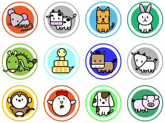 Cute cartoon icon vector for chinese zodiac calendar
