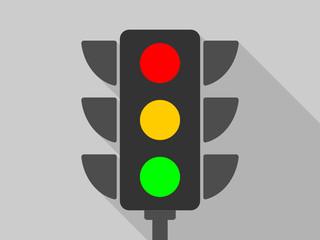 Fotomurales - Flat design cartoon traffic lights vector icon.